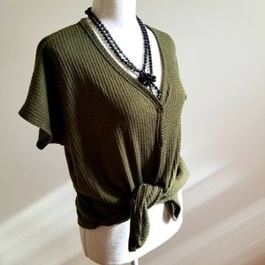Olive green waffle knit top